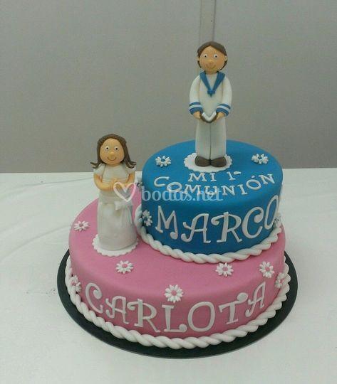 Tarta de boda azul y rosa