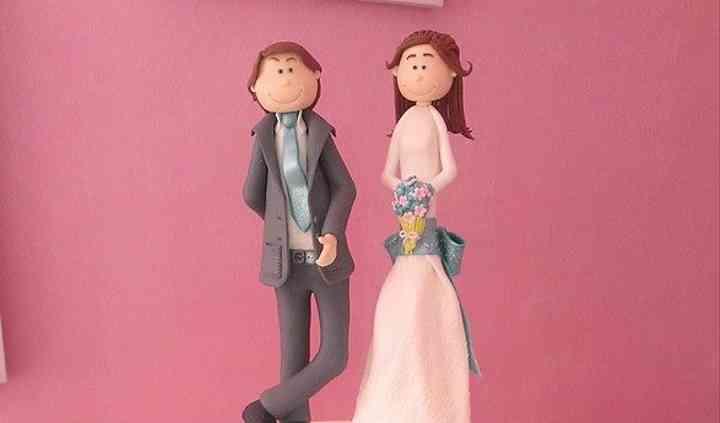 Tarta de boda azul