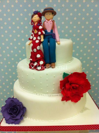 Tarta de boda con figuras