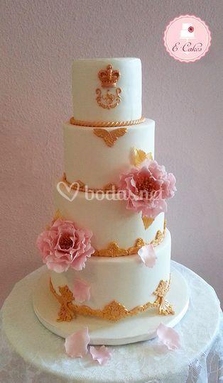 Tarta oro y rosa