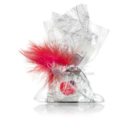 Saquito platino con plumas rojas