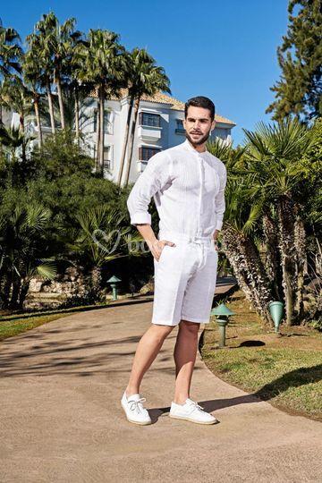 Pantalón corto y camisa de lino