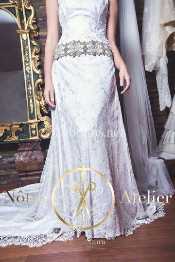 Vestido de novia en lencería