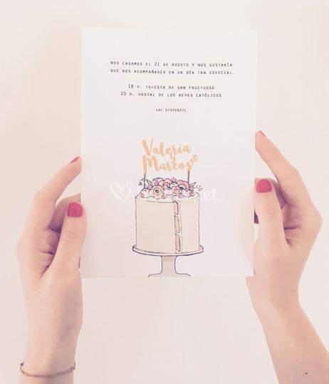 Invitación pastel