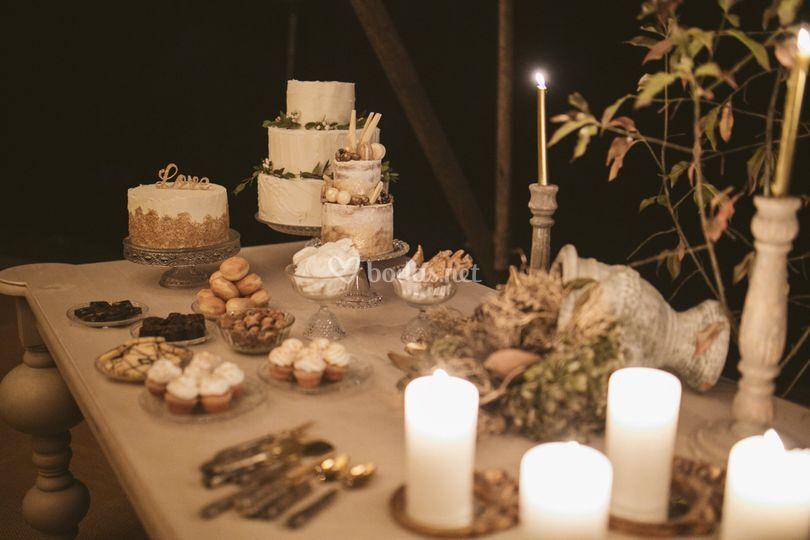 Mesa dulce boda invierno