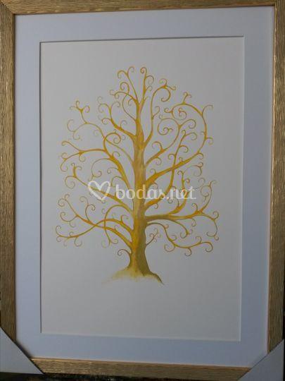 Moselo dorado con marco oro