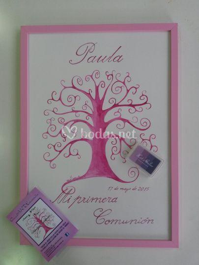 Comunión rosa y violeta