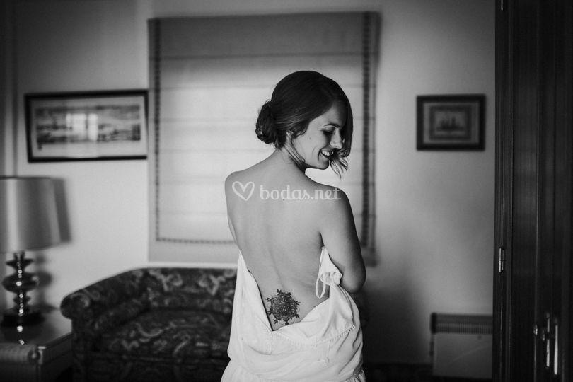 Novia boudoir lencería