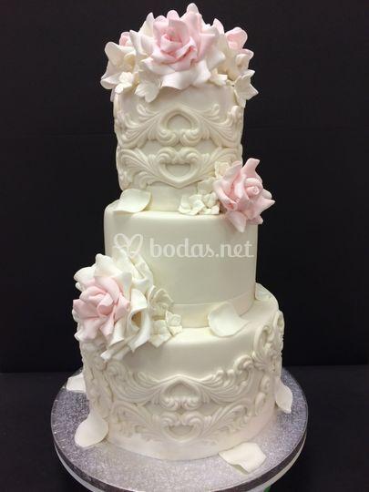 Romántica tarta de rosas