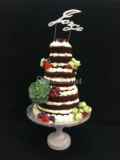 Naked Cake Flores de Chocova Pasteleria Creativa