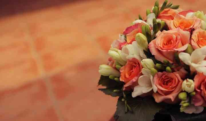 Ramo de novia en tonos naranja