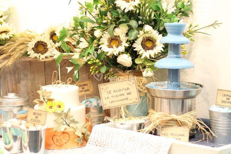 Mesa dulce con fuente