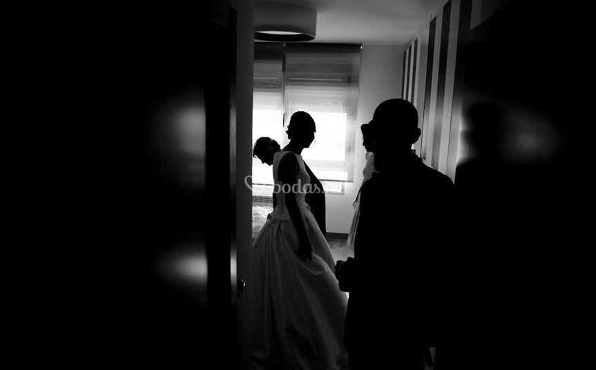 Sesión en casa de la novia