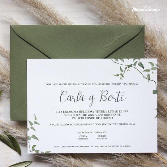 Invitación de boda hiedra