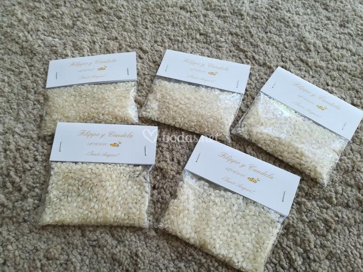 Bolsas de arroz personalizadas