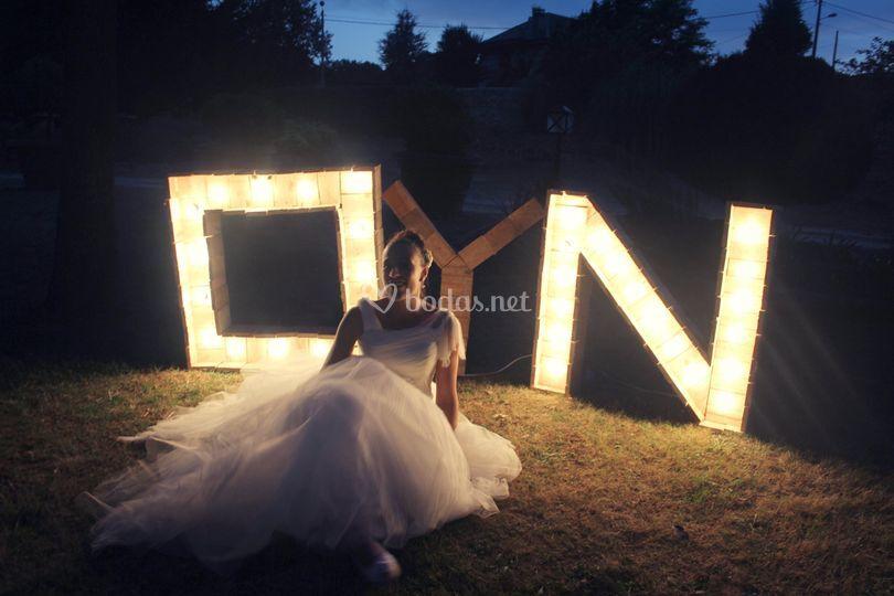 Letras de madera luces