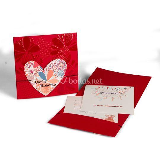 Invitación de boda corazón colores