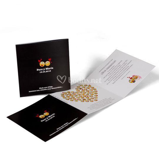 Invitación de boda corazón muñecos