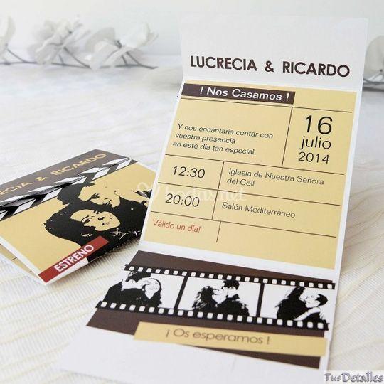 Invitación de boda de película