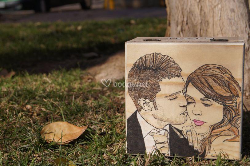 Ilustración novios caja madera