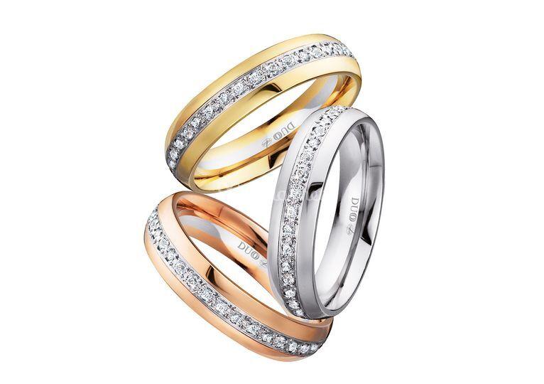 Alianzas de oro con diamantes