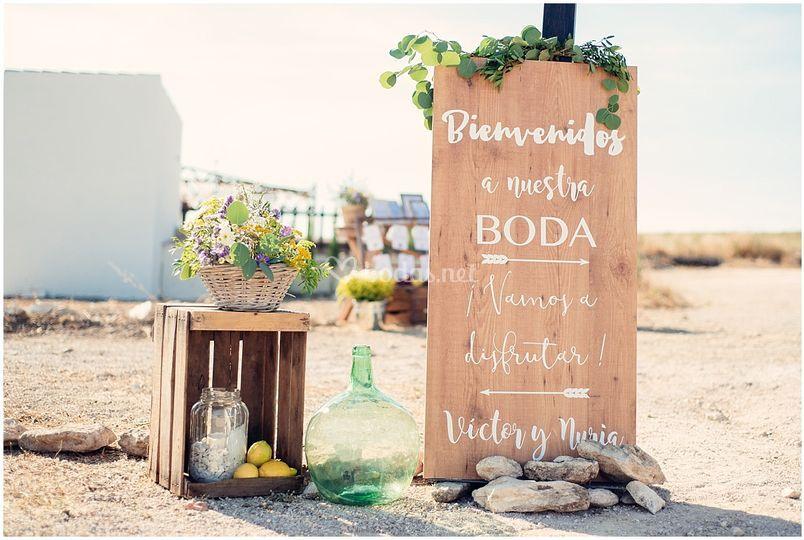 Bodegón bienvenida boda rústic