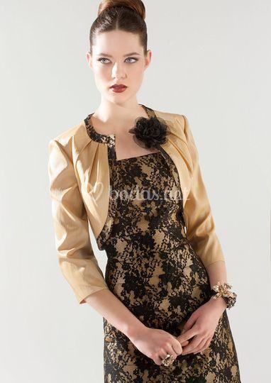 Vestidos negro y dorado