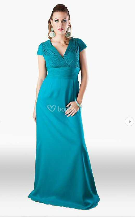 Vestido Azul Turquesa De Didal Dor Foto 6