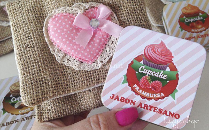 Jabón cupcake y portatodo jute