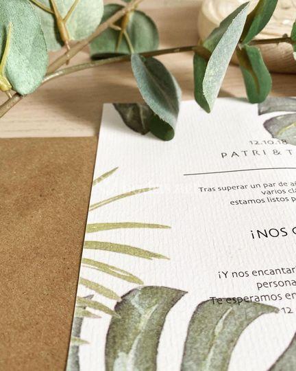 Invitación de la boda de Patri y Toni