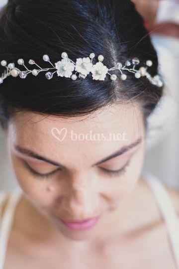 Flores de nacar y perlas