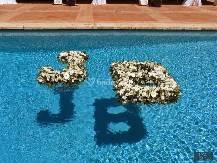 Centro flotante piscina