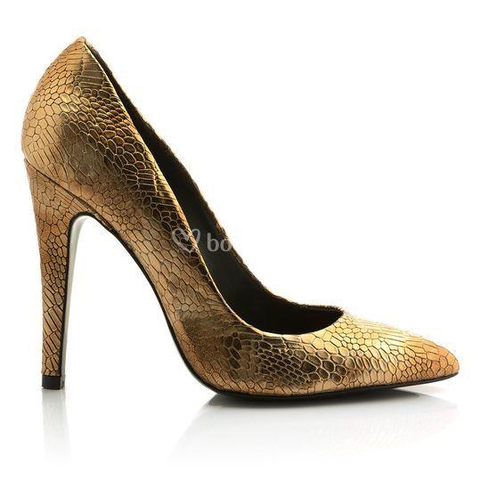 Zapato dorado serpiente 10cm