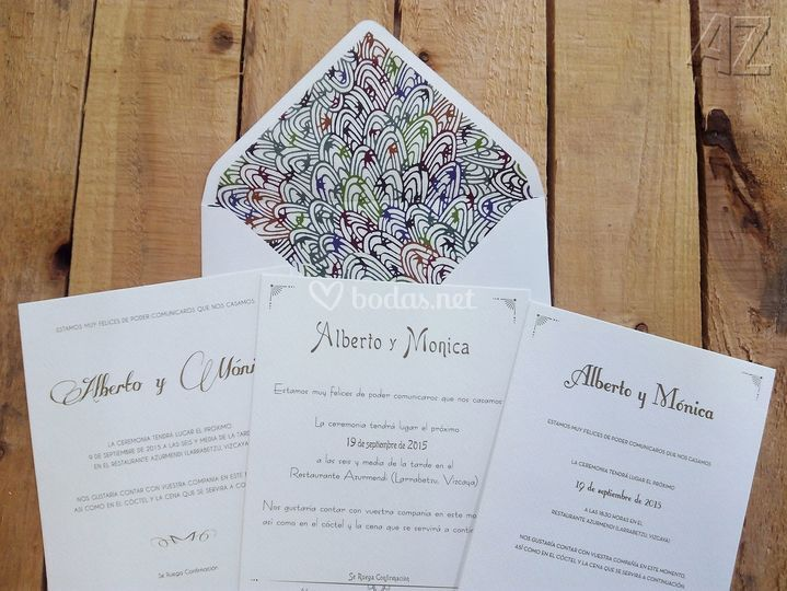 Invitación boda con forro