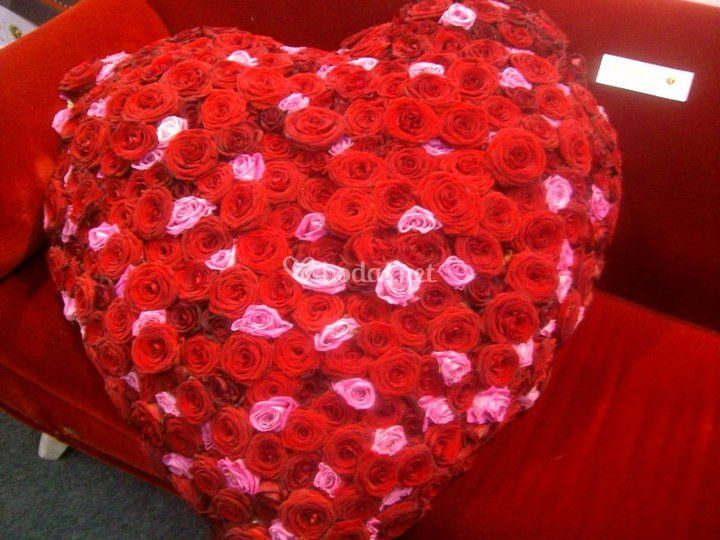 Corazón con más de 100 rosas