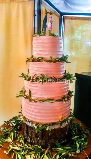 Tarta boda layer rosa