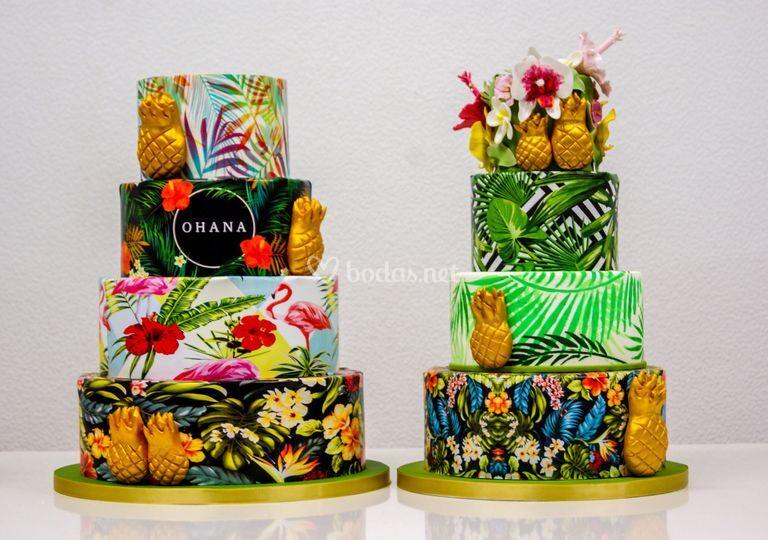 Dúo de tratas boda tropicales