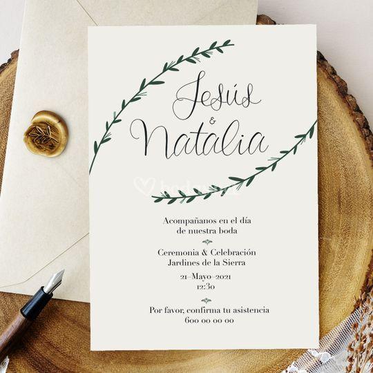 Invitación de boda simple