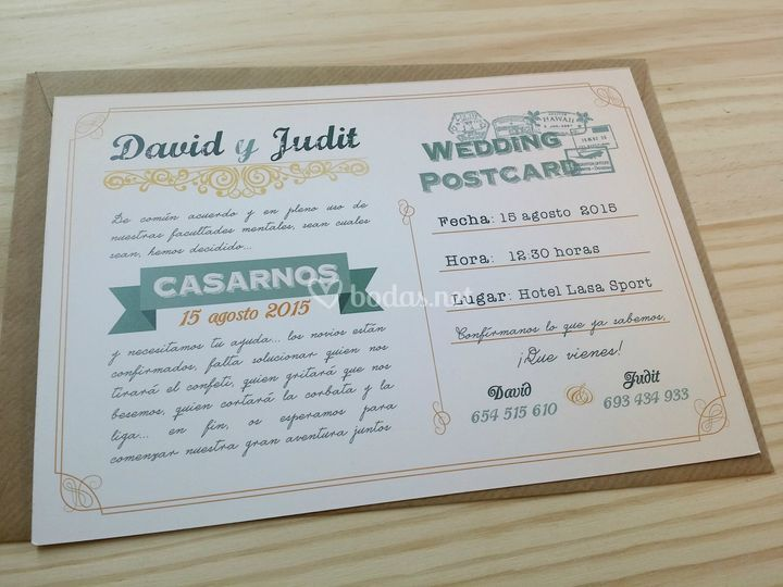 Invitaciones modelo postcard