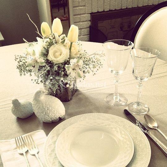 Banquete en tonos blancos