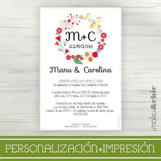 Invitaciónboda Corona Flores