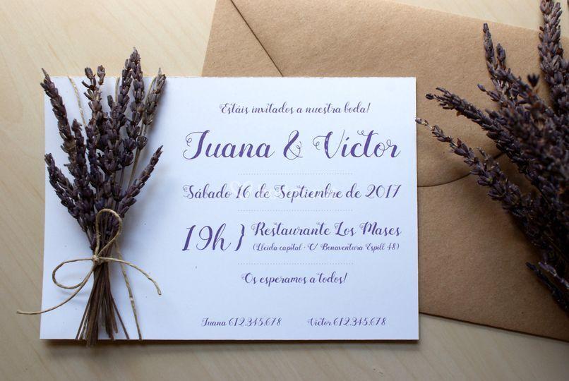 Invitación Flores de Lavanda
