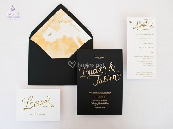 Invitación en papel texturado
