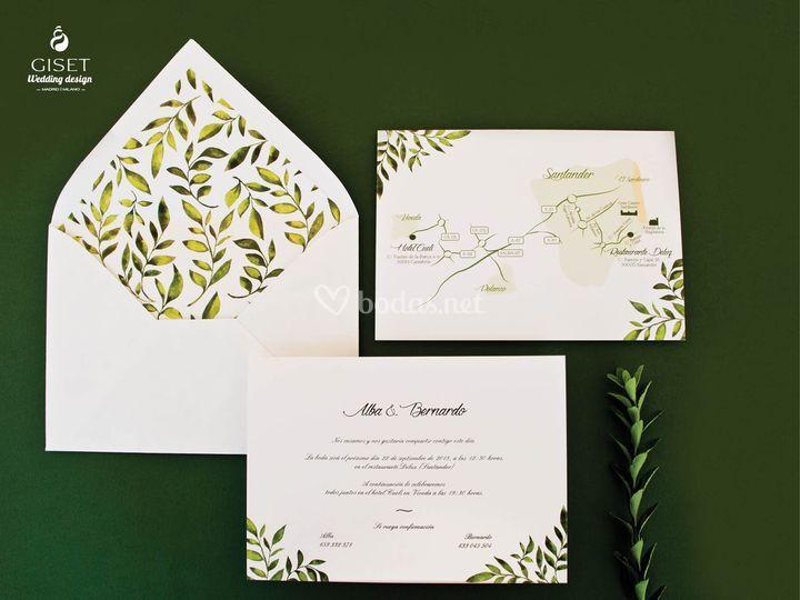 Invitación y plano con motivos