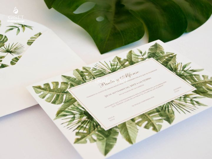 Invitaciones estilo tropical
