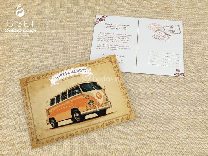 Invitaciones boda postal
