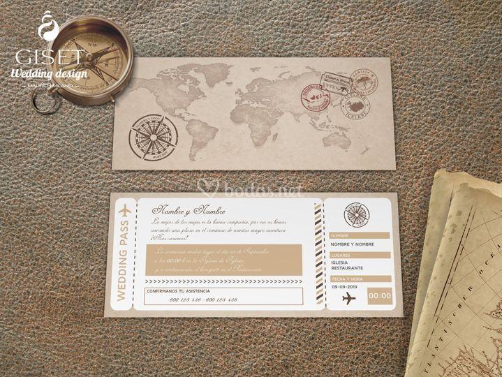Invitación boda billete avion