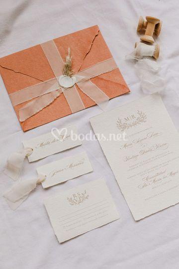 Invitación papel artesanal
