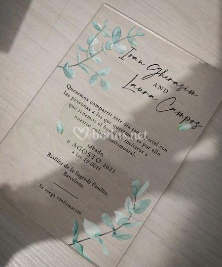 Invitación acrílica Eucalyptus