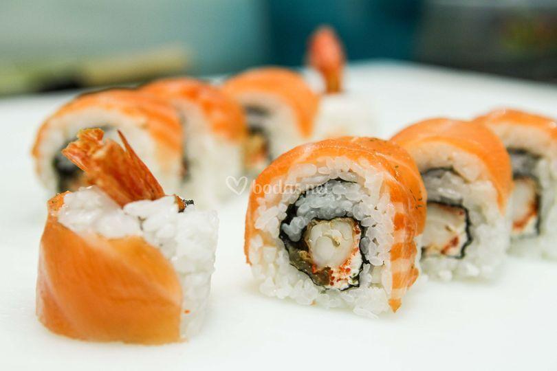 Tempura con salmón ahumado